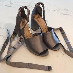 Grey Satin Tie Wrap Block Heel